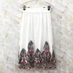 Embroidered Midi Skirt Mesh Overlay S MAGIC White